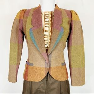 Vintage 70s Fitted Colorblock Wool Blend Blazer